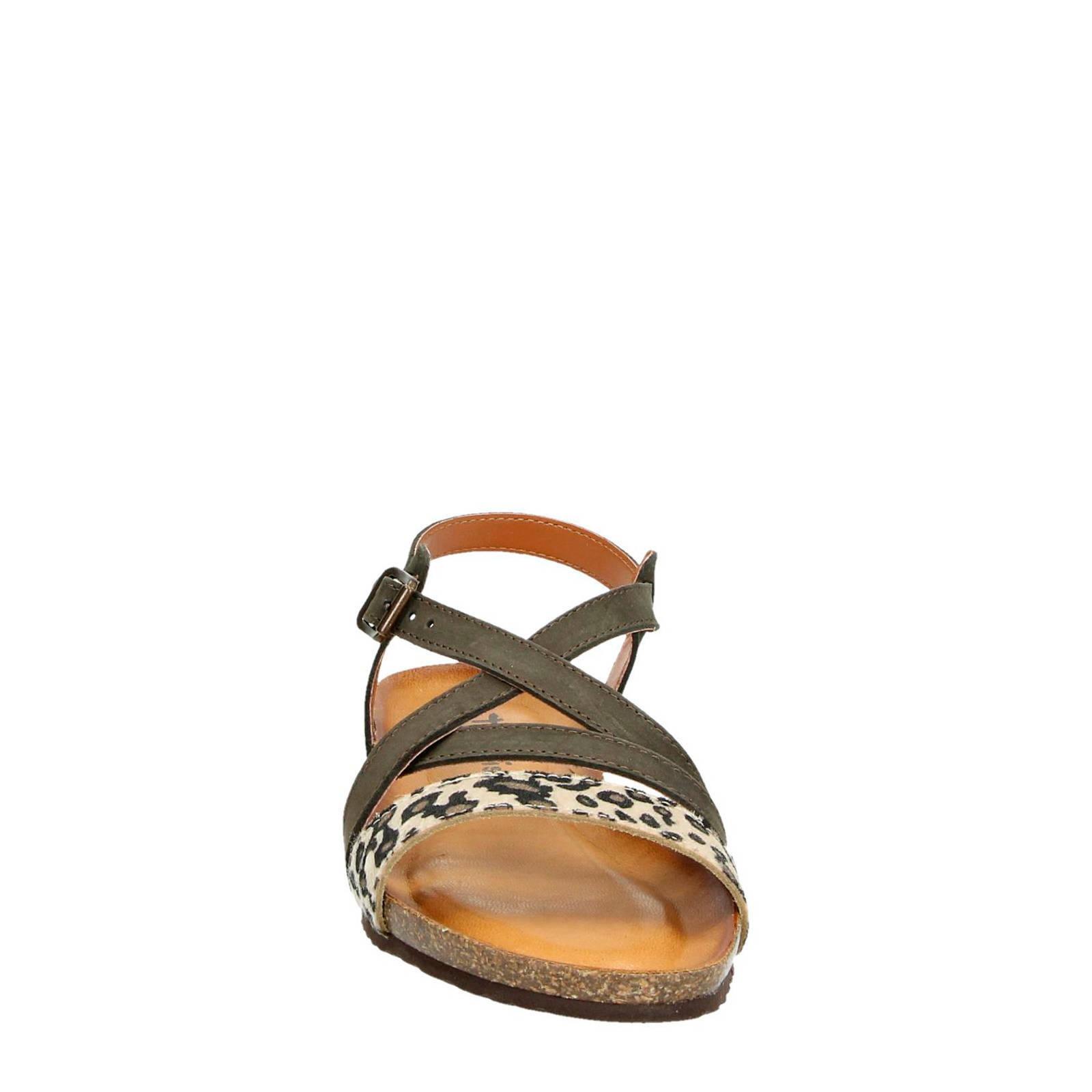 Tamaris leren sandalen met panterprint | wehkamp
