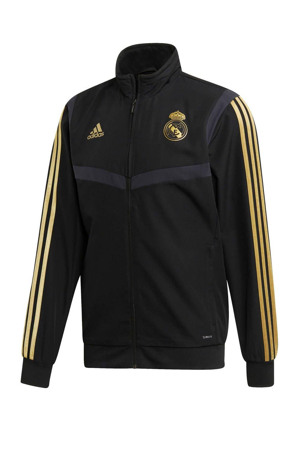 adidas Senior Real Madrid voetbaljack Presentatie, Zwart/goud
