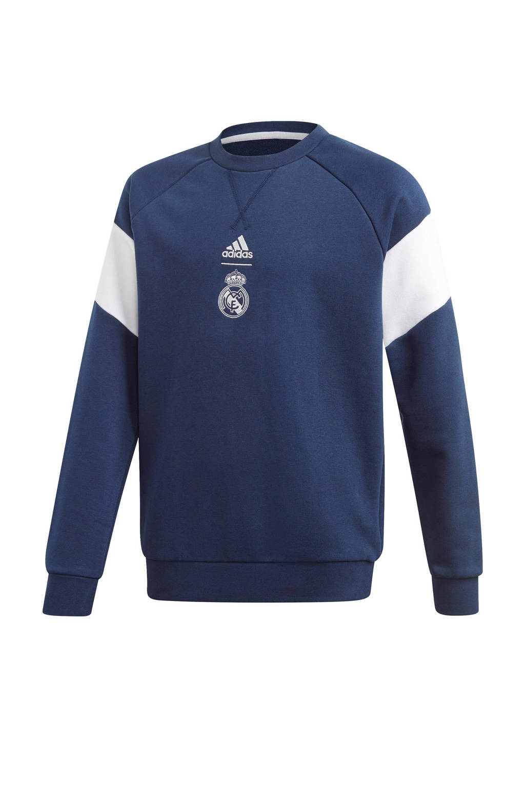 adidas Junior Real Madrid voetbalsweater, Donkerblauw/wit