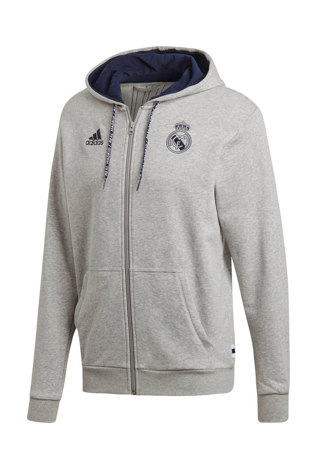 adidas Senior Real Madrid voetbalvest, Grijs melange/donkerblauw