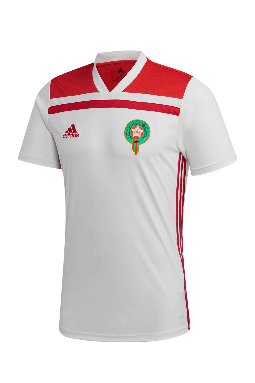adidas performance Senior Marokko voetbalshirt Uit, Wit/rood