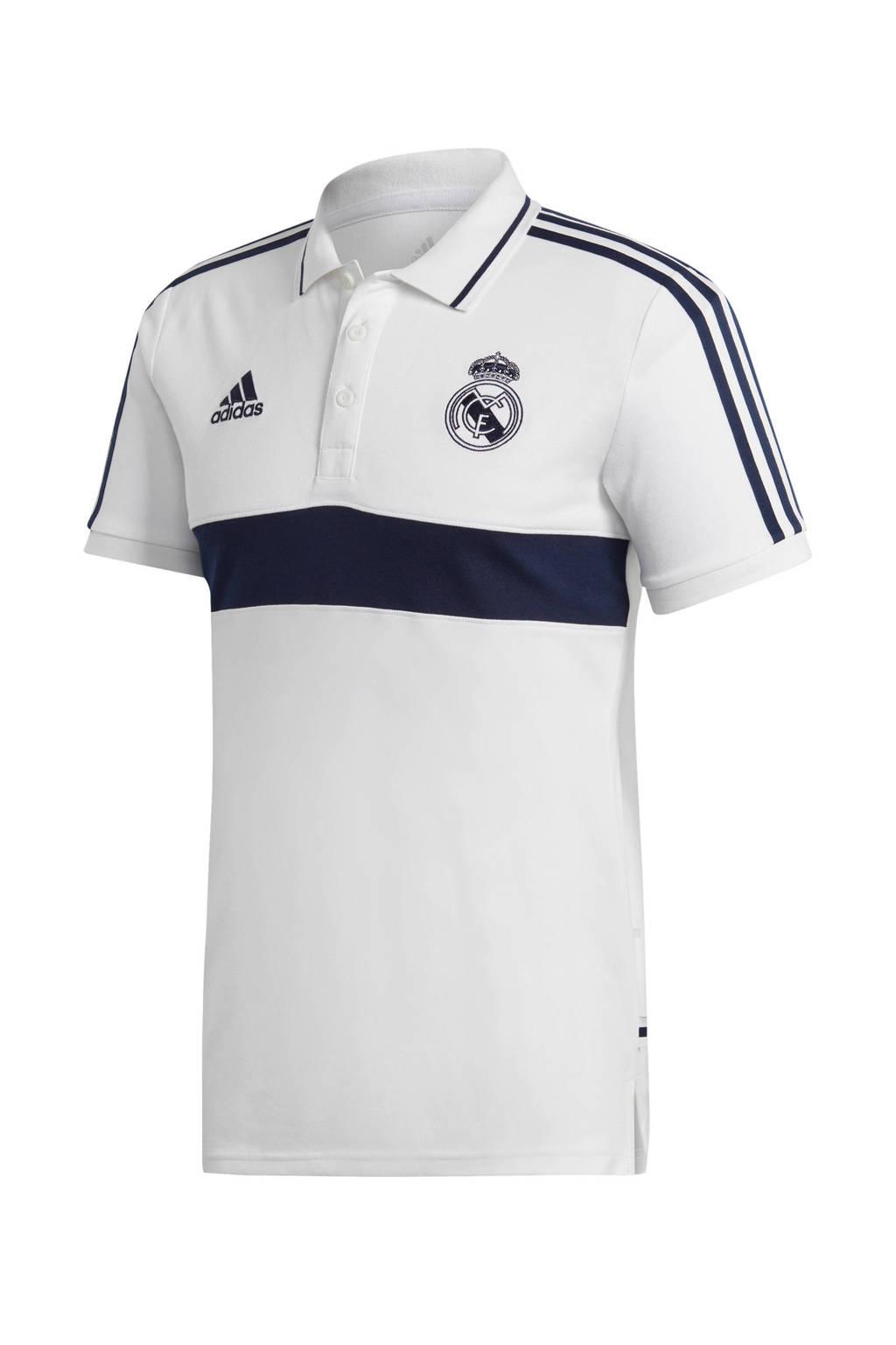 adidas Senior Real Madrid voetbalpolo wit, Wit/donkerblauw