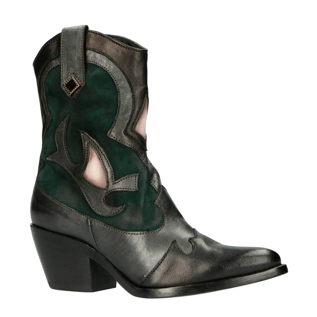 Mjus   793244 leren cowboylaarzen zwart/groen, Zwart/groen/grijs