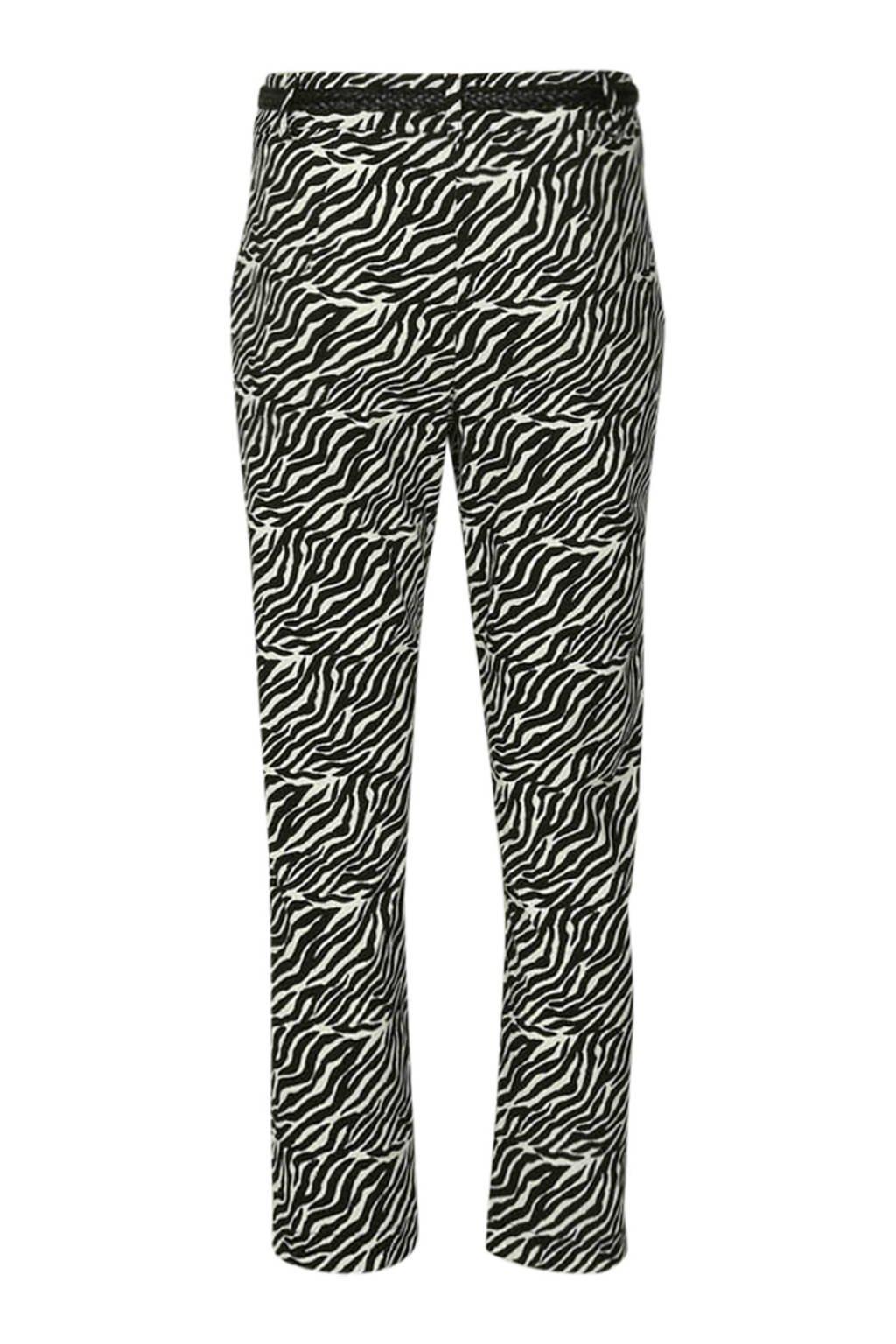Cassis regular fit broek met zebraprint zwart, Zwart