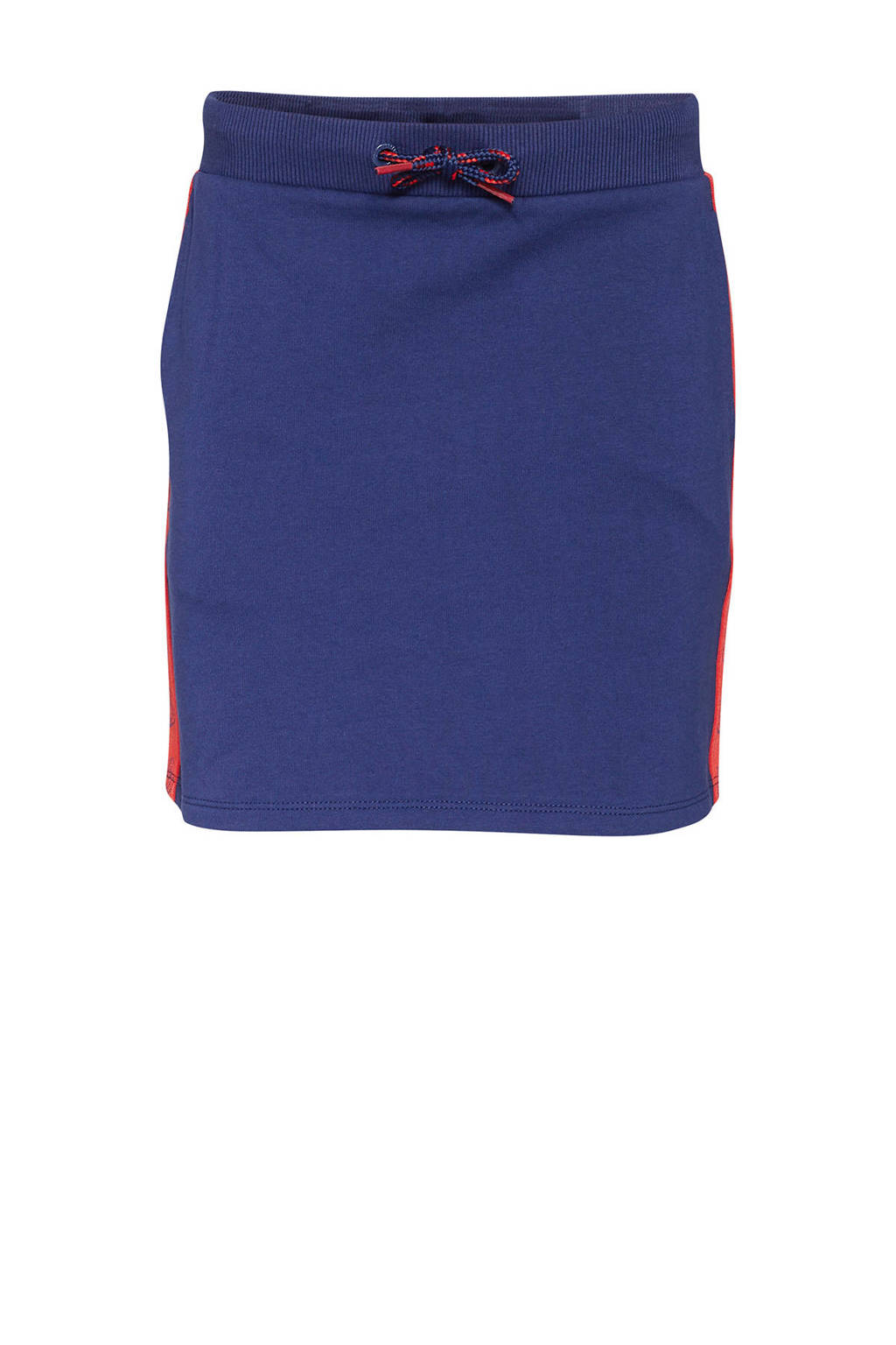 WE Fashion rok met contrastbies donkerblauw/rood, Donkerblauw/rood