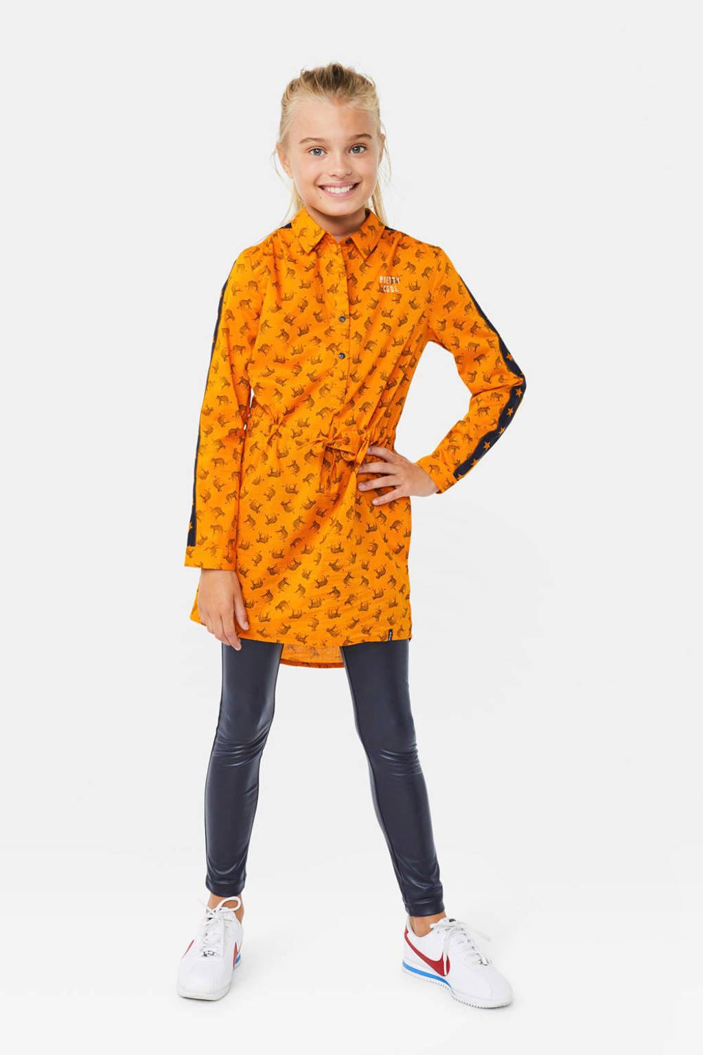 WE Fashion blousejurk met contrastbies oker/zwart/wit, Oker/zwart/wit