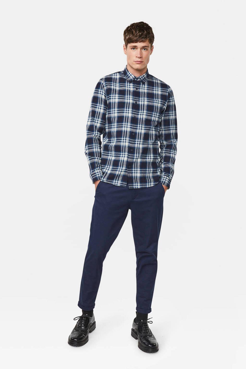 WE Fashion geruit regular fit overhemd indigo mood, Indigo Mood