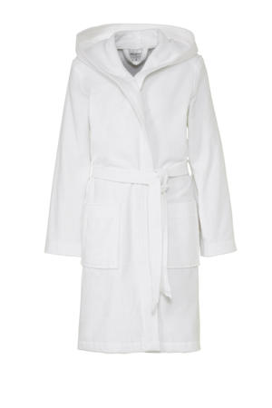 badstof badjas met capuchon wit