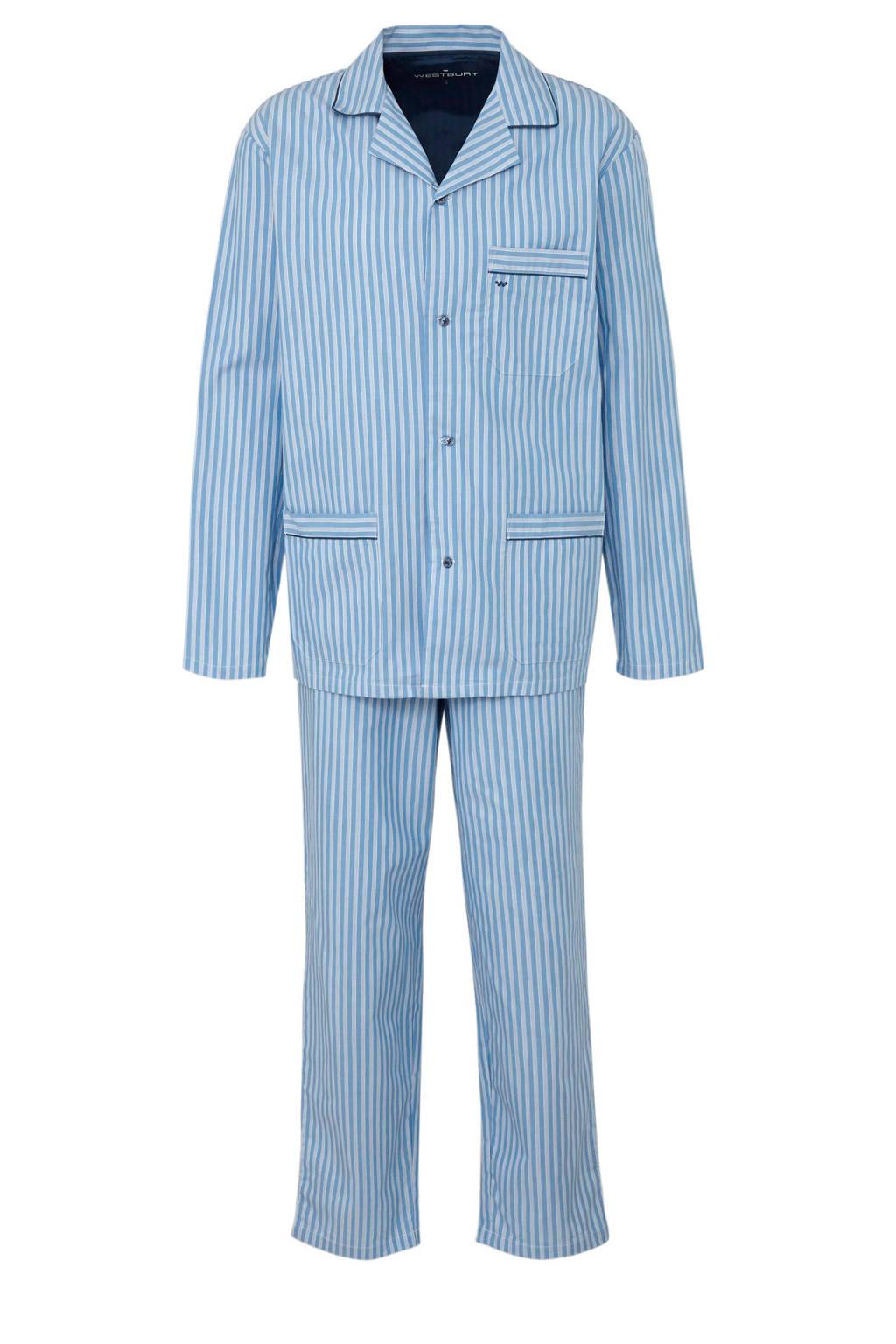 C&A gestreepte pyjama met reverskraag blauw, Lichtblauw/wit