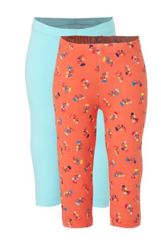 Palomino legging oranje/lichtblauw