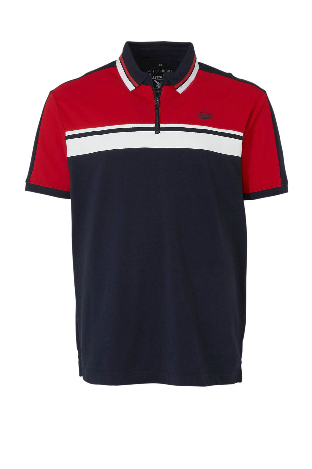 C&A XL Angelo Litrico polo marine, Marine/rood/wit