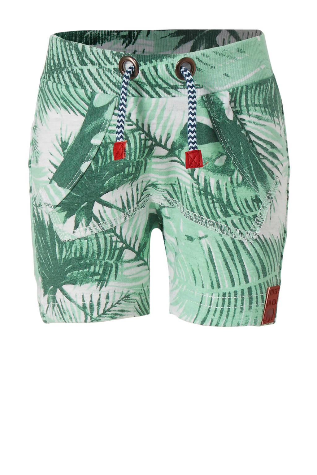 Dirkje baby loose fit sweatshort met all over print groen/wit, Groen/wit