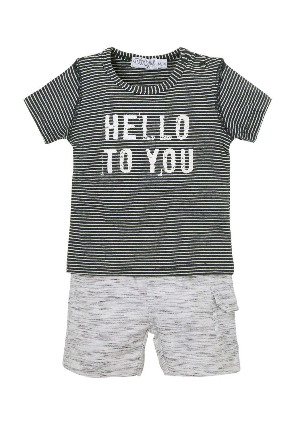 Dirkje baby gestreepte T-shirt + short donkerblauw, donkerblauw/wit/grijs