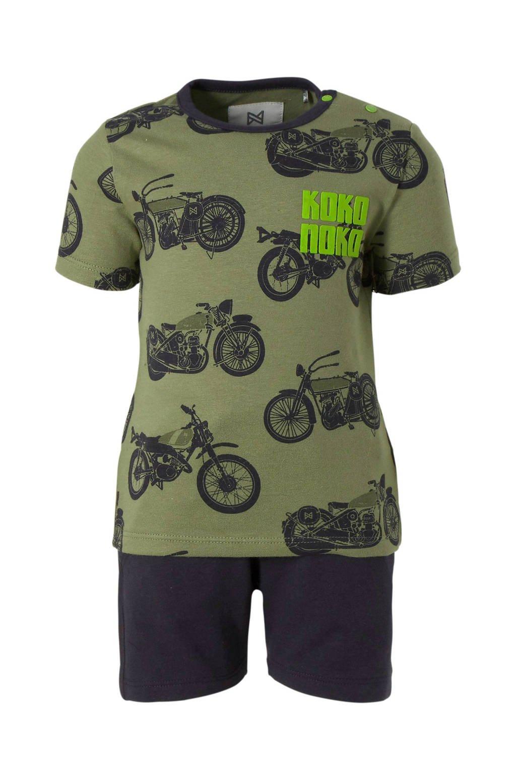 Koko Noko baby set T-shirt + short legergroen, Legergroen/ donkergrijs