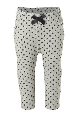 baby broek met stippen grijs melange/ zwart