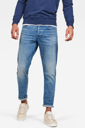 3301 straight tapered fit jeans worn in azure
