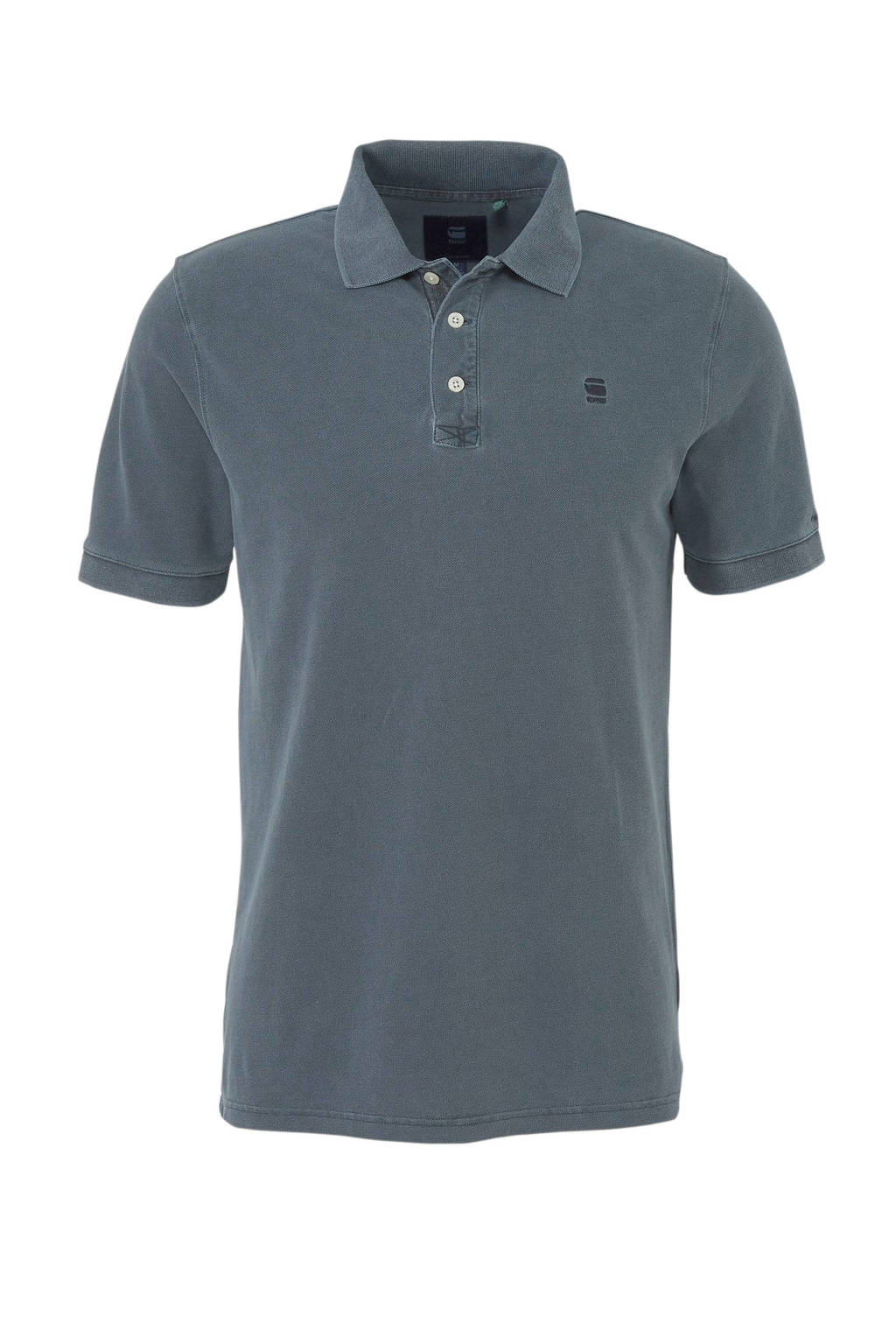 G-Star RAW regular fit polo met logo grijsblauw, Grijsblauw