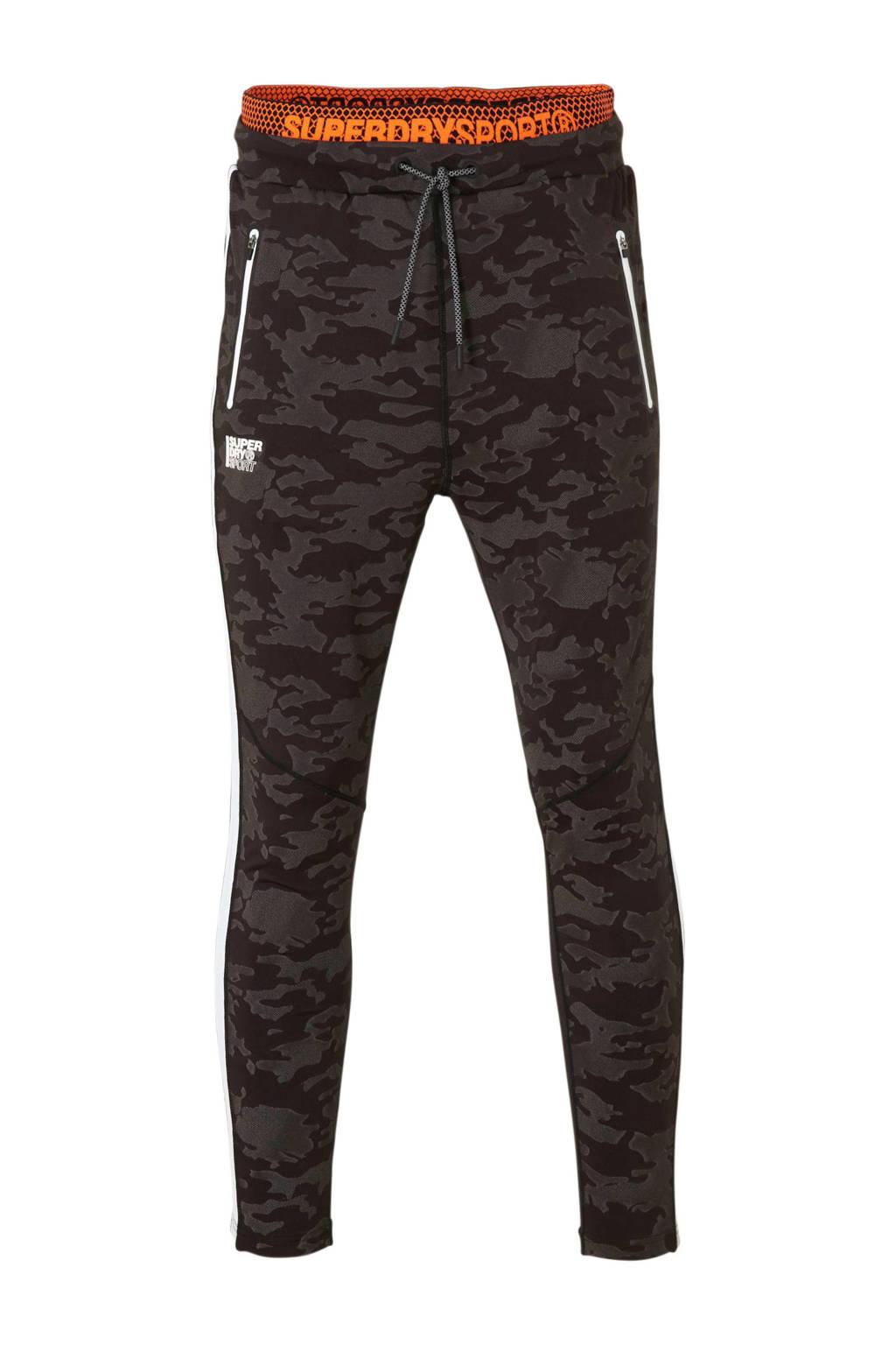 Superdry Sport   sportbroek met camouflageprint antraciet, Antraciet/zwart