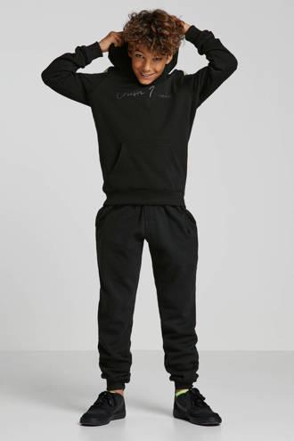 hoodie Wesley met tekst zwart