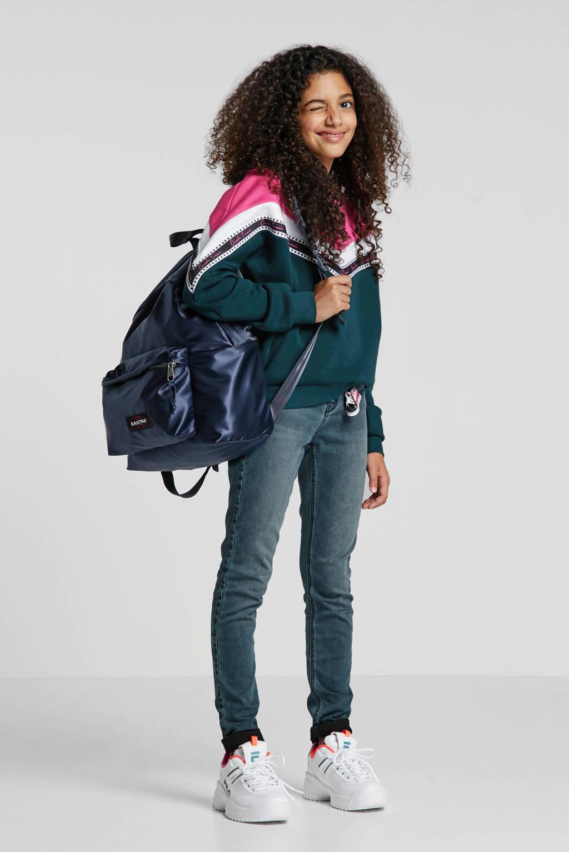 Crush Denim sweater Wendy met all over print donkergroen/roze, Groen/roze/wit