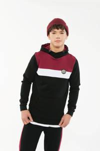 Crush Denim hoodie Willard zwart/rood/wit, Zwart/rood/wit