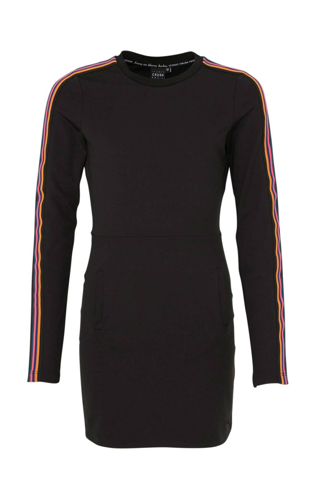 Crush Denim jurk Siby met contrastbies zwart, Zwart