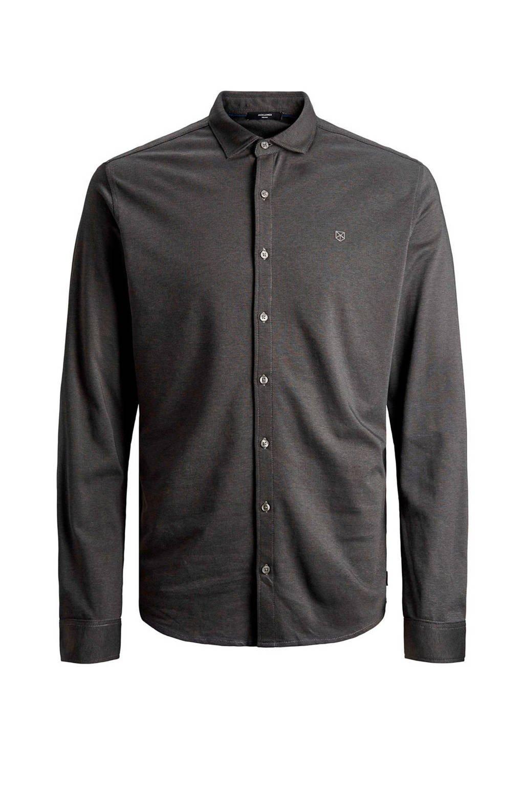 JACK & JONES PREMIUM slim fit overhemd met logo grijs, Grijs