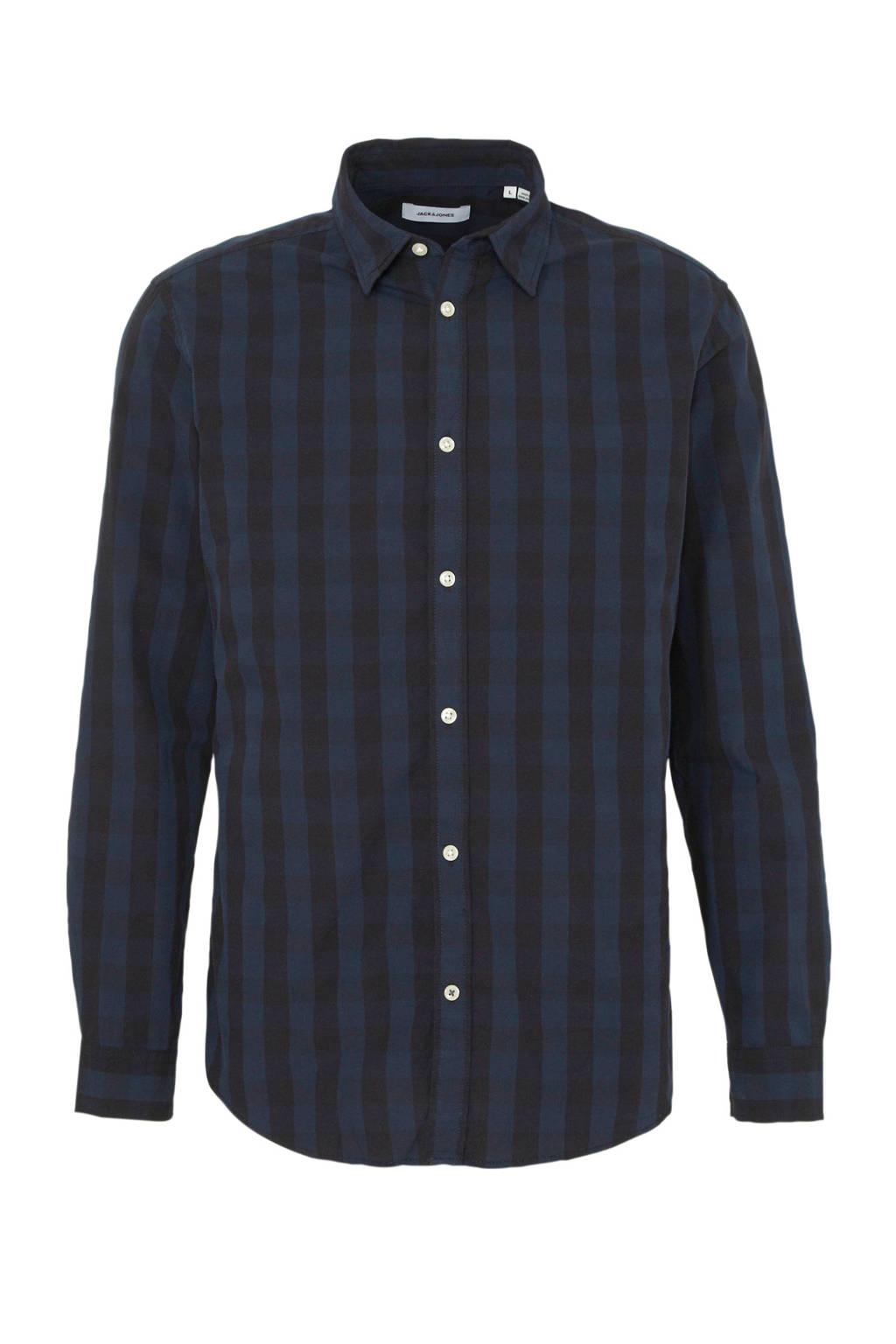JACK & JONES ESSENTIALS gestreept regular fit overhemd donkerblauw, Donkerblauw