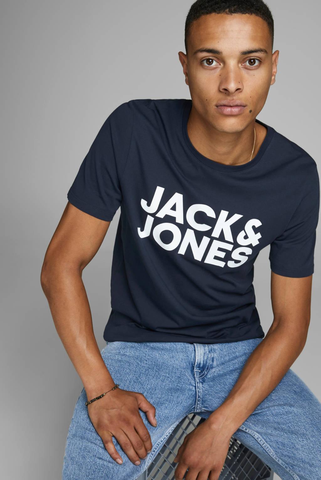 JACK & JONES ESSENTIALS T-shirt met tekst donkerblauw, Donkerblauw