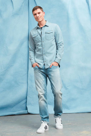 slim fit denim overhemd JJESHERIDAN lichtblauw