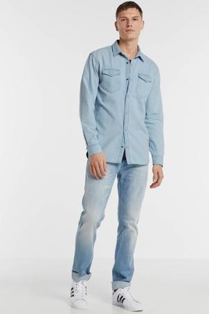 slim fit denim overhemd lichtblauw