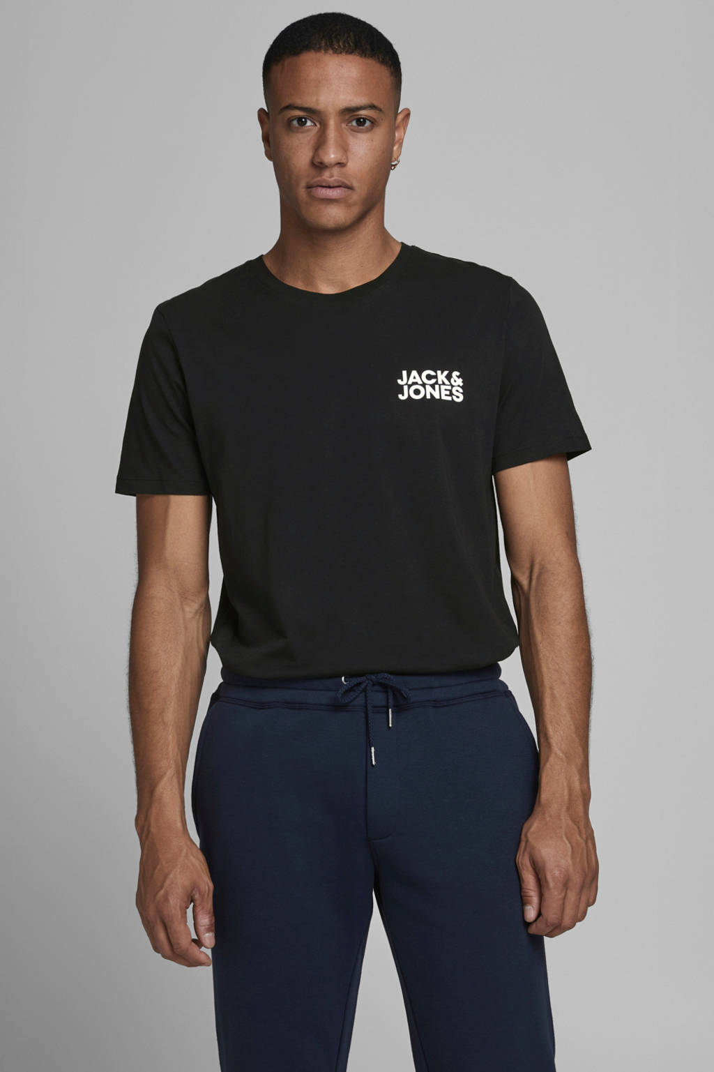 JACK & JONES ESSENTIALS T-shirt Jjecorp met logo zwart, Zwart