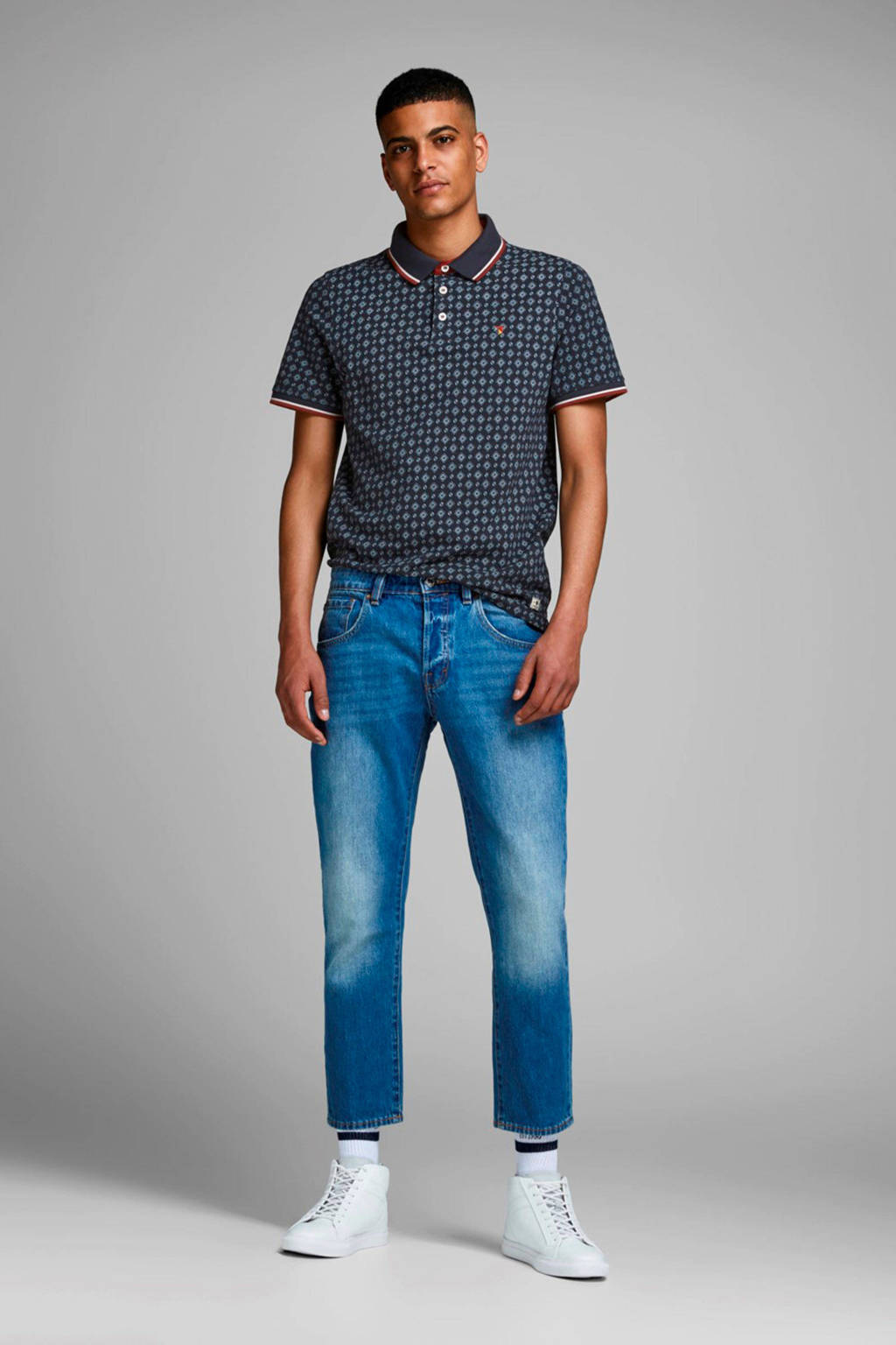 JACK & JONES PREMIUM slim fit polo met all over print marine/rood/ecru, Marine/rood/ecru