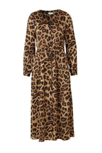 maxi jurk met luipaardprint bruin