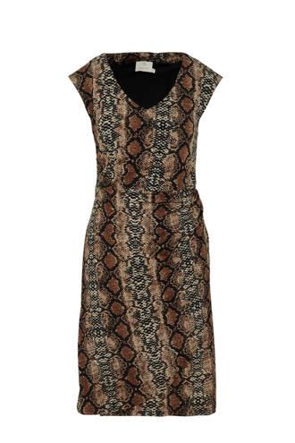 jurk met slangenprint bruin