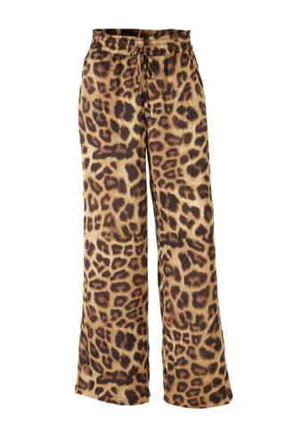 broek met luipaardprint bruin/zwart