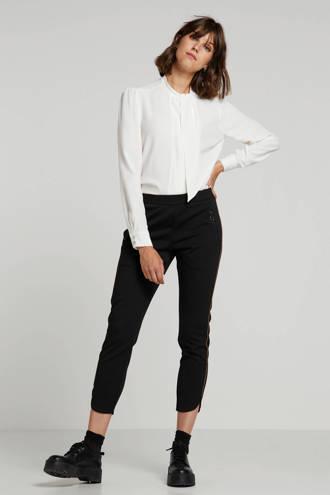 slim fit broek met zijstreep zwart