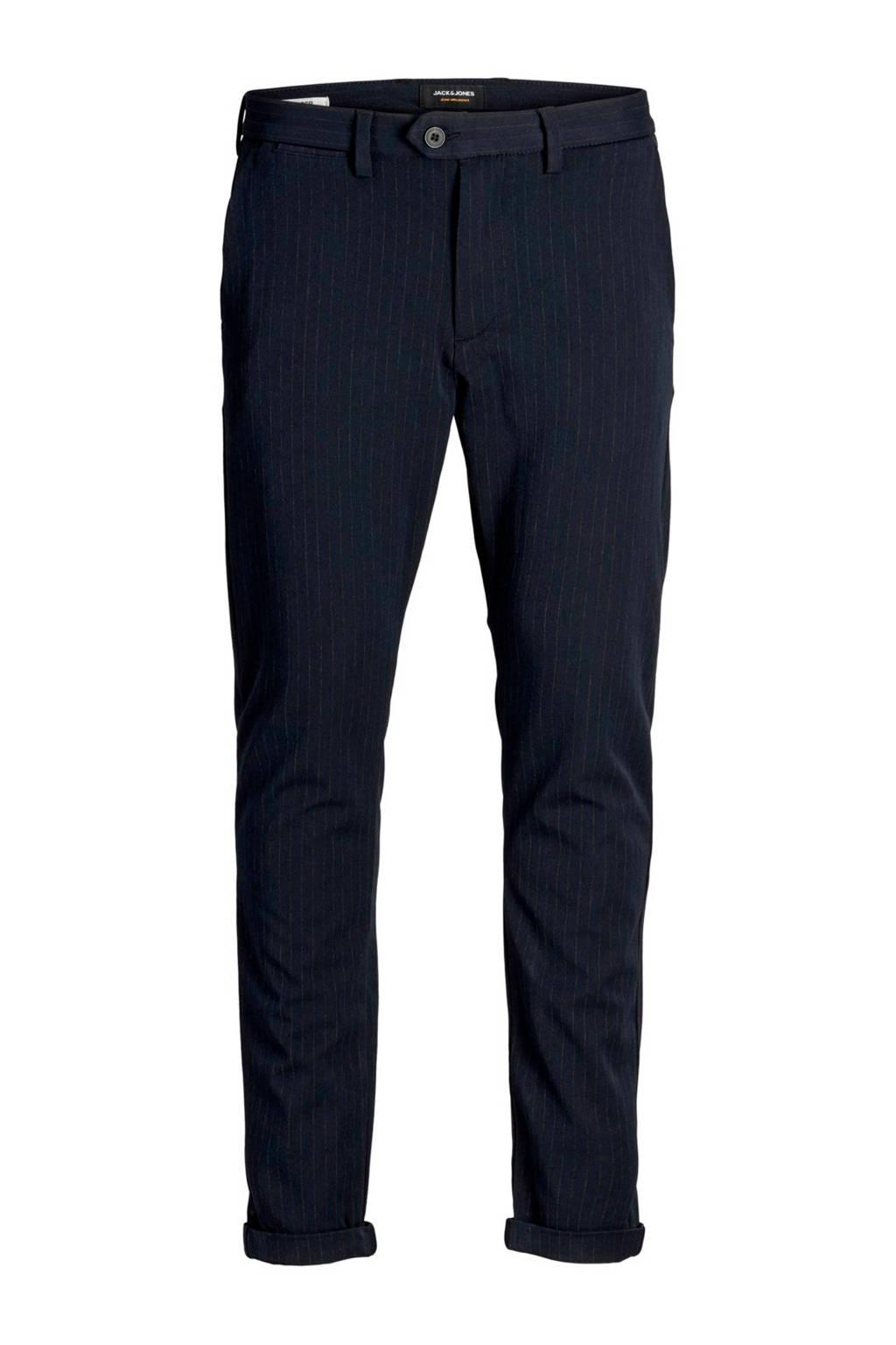 JACK & JONES slim fit pantalon Marco met krijtstreep marine/ecru, Marine/ecru