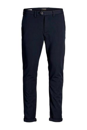 slim fit pantalon met krijtstreep marine/ecru