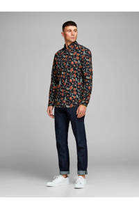 JACK & JONES PREMIUM slim fit overhemd met all over print zwart/oranje/rood/groen, Zwart/oranje/rood/groen