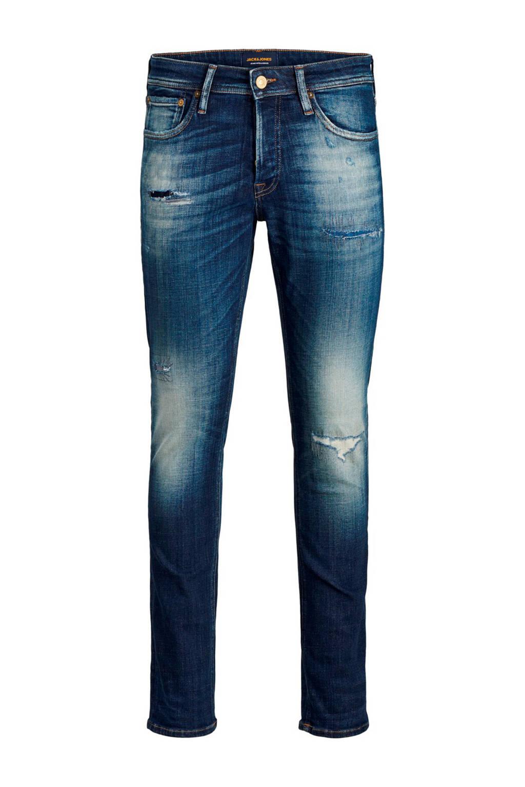 JACK & JONES JEANS INTELLIGENCE slim fit jeans Glenn met slijtage blue denim 164, Blue Denim 164