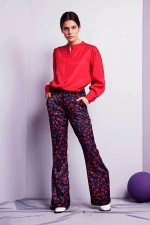loose fit broek met dierenprint blauw/rood
