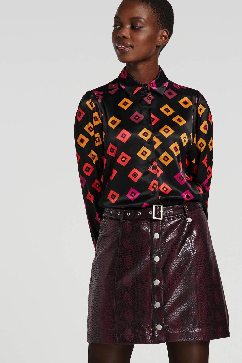 Fabienne Chapot blouse met all over print zwart, Zwart
