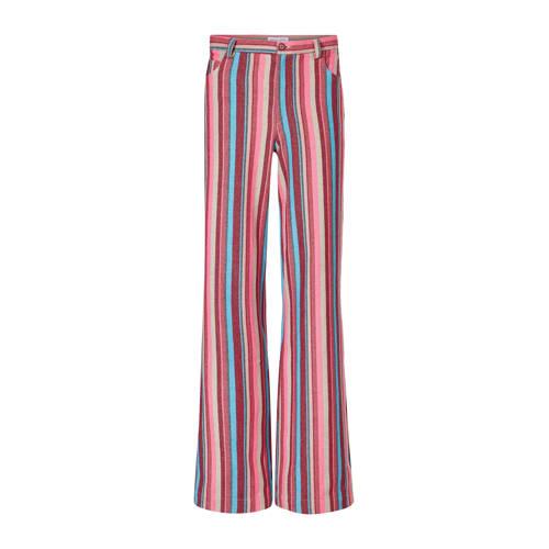 Fabienne Chapot gestreepte flared broek roze multi