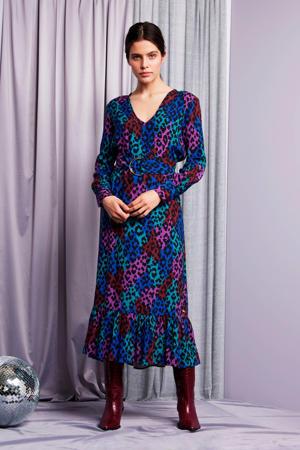 jurk Carlotta met panterprint en ceintuur multi