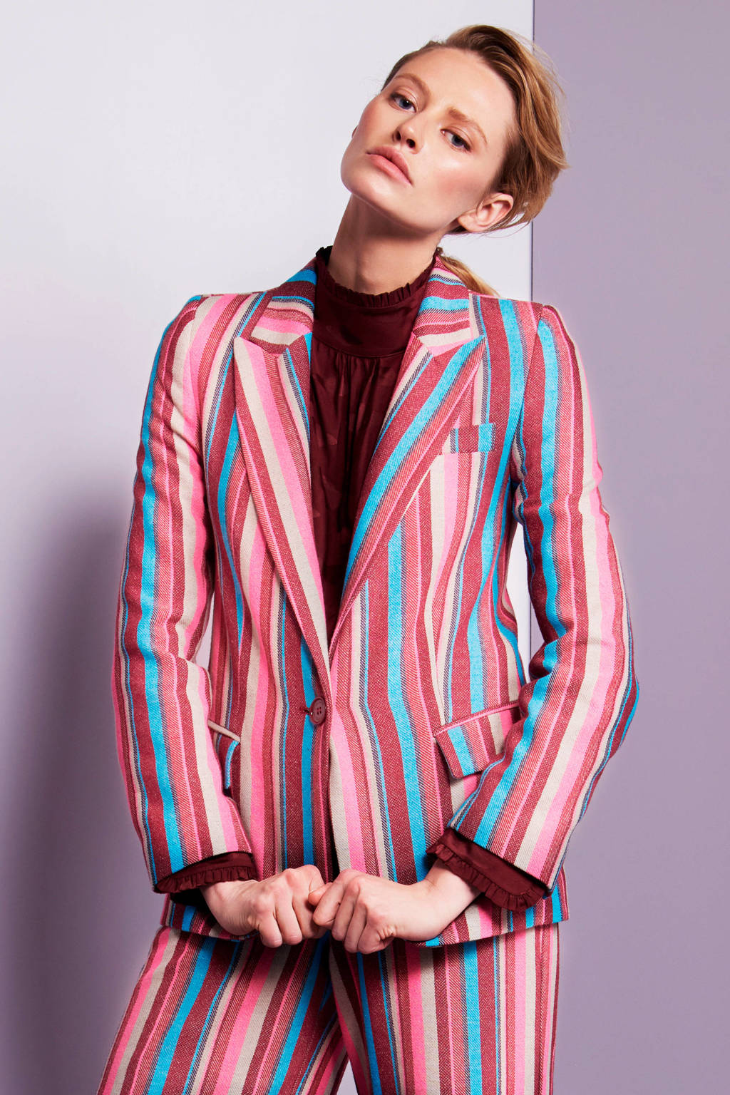 Fabienne Chapot gestreepte blazer roze multi, Roze multi