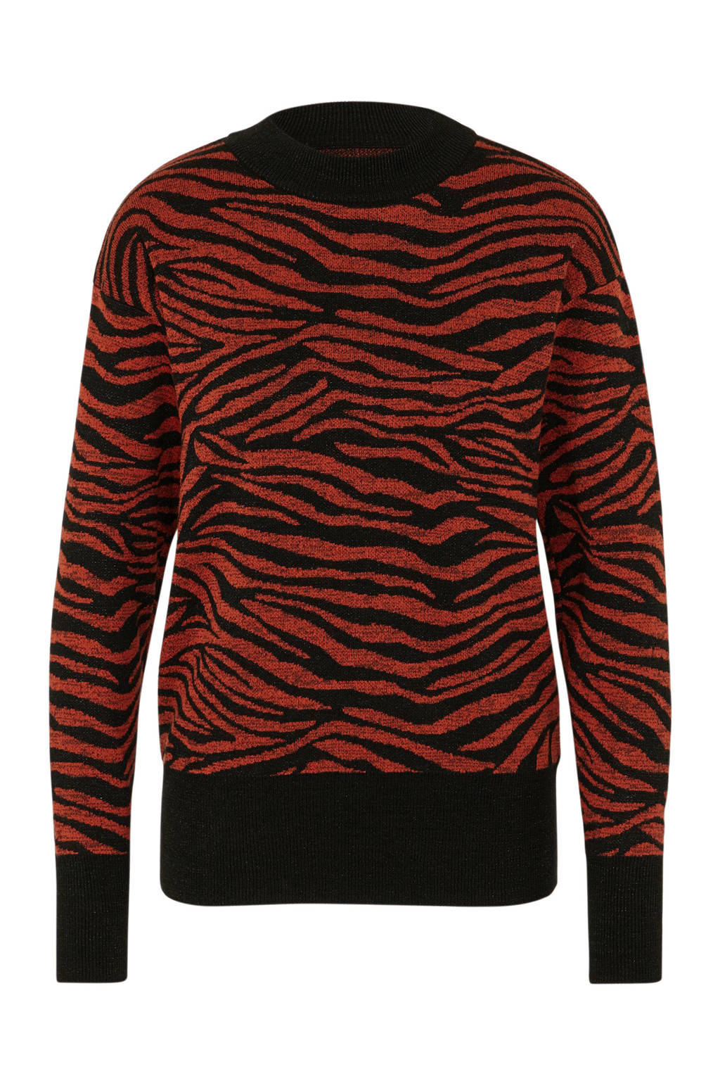 Kaffe glittertrui met zebraprint rood/zwart, Rood/zwart
