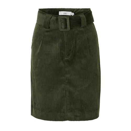 ICHI corduroy A-lijn rok met ceintuur groen