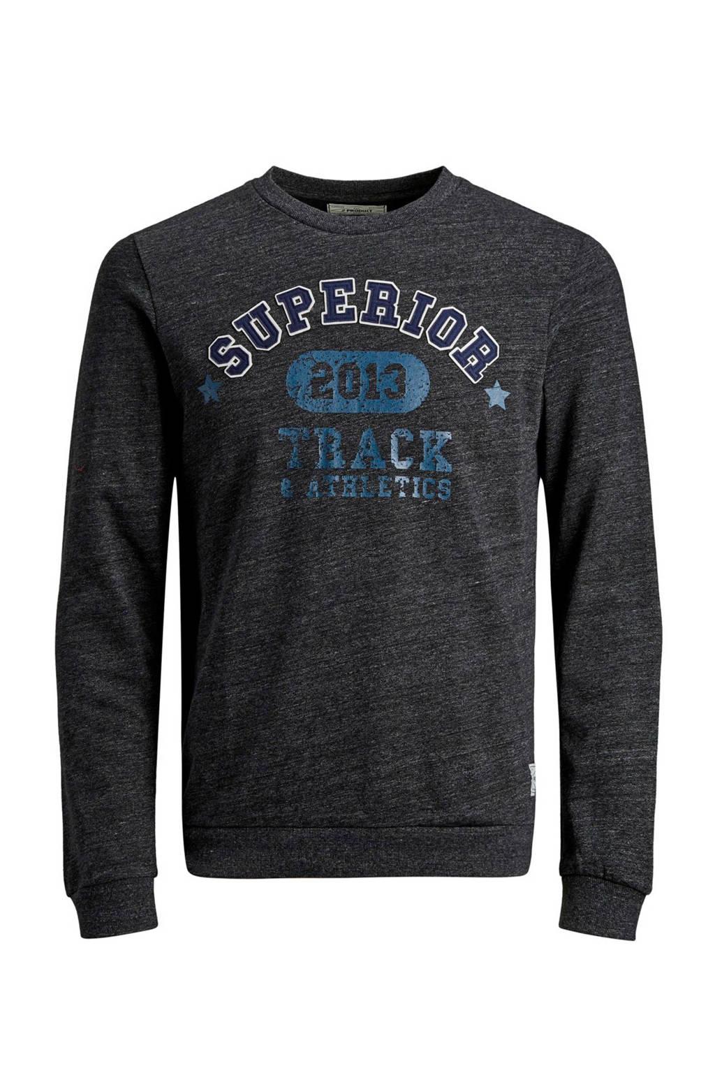 PRODUKT sweater met tekst en patches zwart/blauw, Zwart/blauw