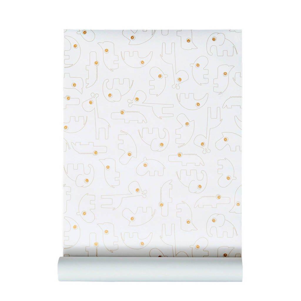 Done by Deer behang wit/goud, Wit/goud